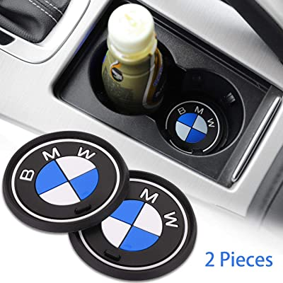 OSIRCAT 2PCS Car Logo Cup Holder Coaster for BMW Accessories,2.6 Inch Diameter Anti Slip Mat Auto Interior Pad: Automotive