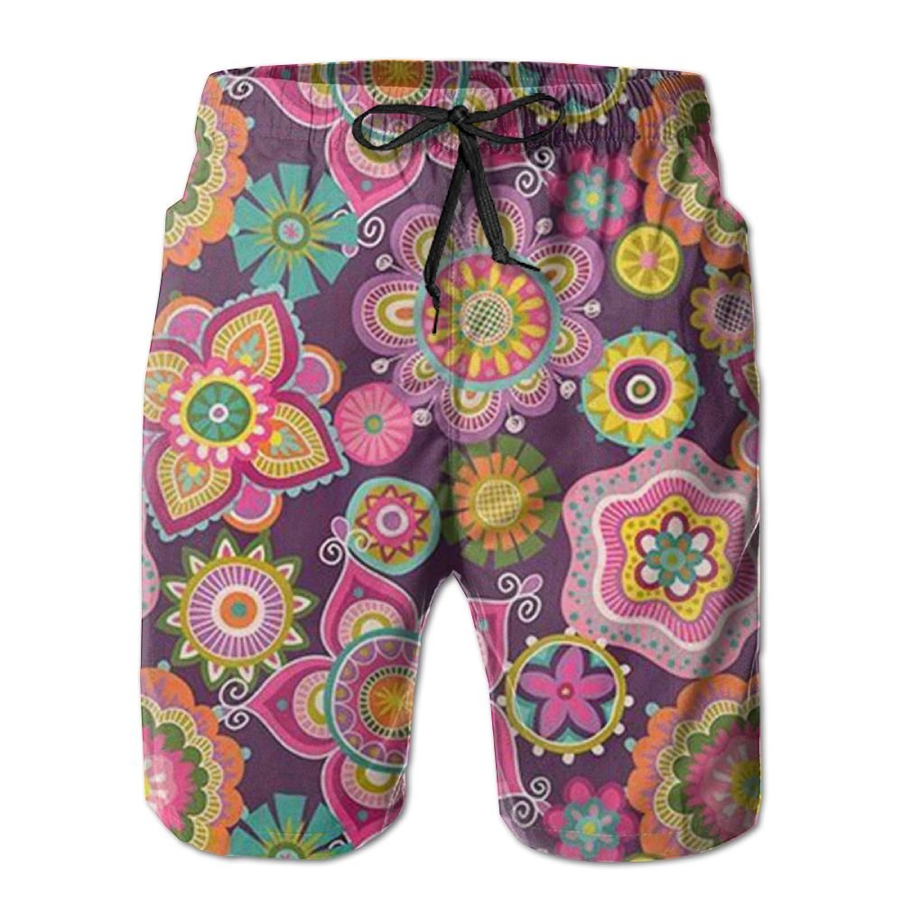 JDHFAF Colored Flowers Mens Beach Board Shorts Quick Dry Summer Casual Swimming Soft Fabric with Pocket