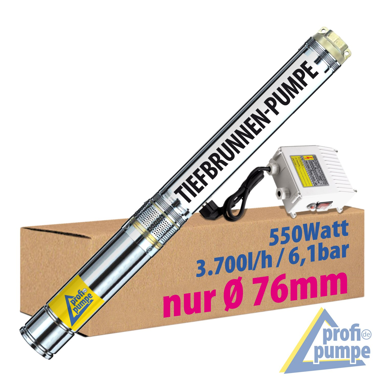 SONDERPREIS! 3 Zoll - 550W BRUNNENPUMPE TIEFBRUNNENPUMPE TAUCHDRUCKPUMPE TAUCHPUMPE ROHRPUMPE GARTENPUMPE HAUSWASSERWERKWASSERPUMPE PUMPE Brunnen-Star-550-4=Die ENERGIE-SPAR PUMPE mit hoher Förderleistung und großem Druck für BRUNNEN bis ca. 25m Tiefe