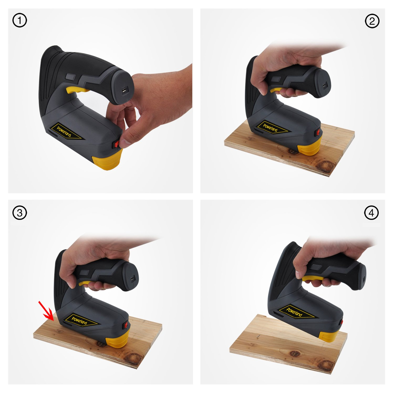 Powerland DIY Akku-Tacker 3,7 LI, 1000 Klammern, Ladegerät, Metalldose (3,7 V, Klammern 4-12 mm, Schläge:40 min–1)