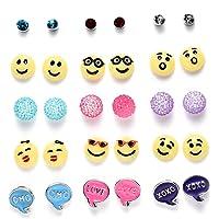 Onnea Multi Pairs Disc Ball Flower Cubic Zirconia Earrings Set for Girls, Hypoallergenic