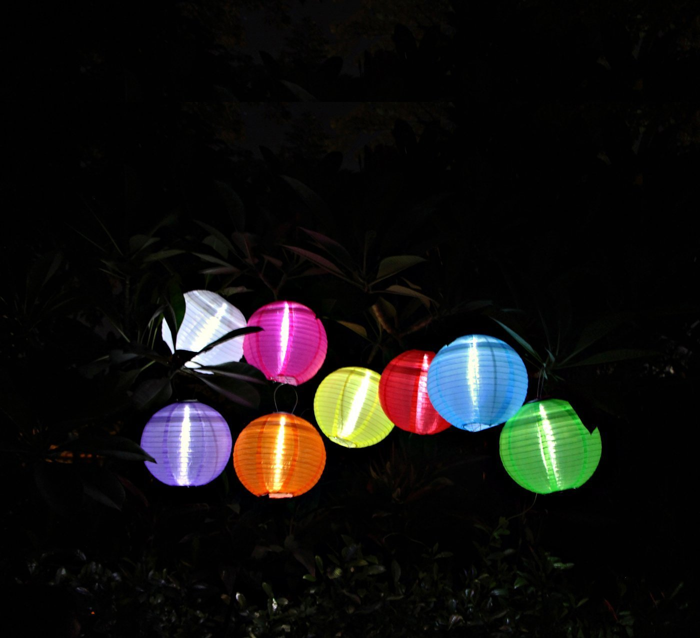RioRand Chinese waterproof outdoor garden solar hanging LED light lanterns (Red/green/blue/yellow) by RioRand (Image #5)