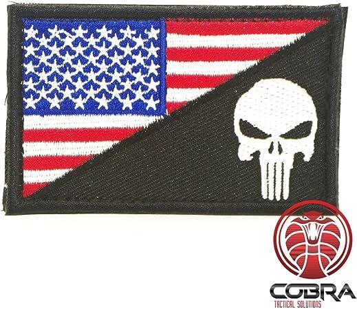 Cobra Tactical Solutions Punisher Castigador Skull Badge Bandera de USA Parche PVC Táctico Moral Militar con Cinta adherente de Airsoft Paintball para Ropa de Mochila Táctica (Negro/Blanco): Amazon.es: Hogar