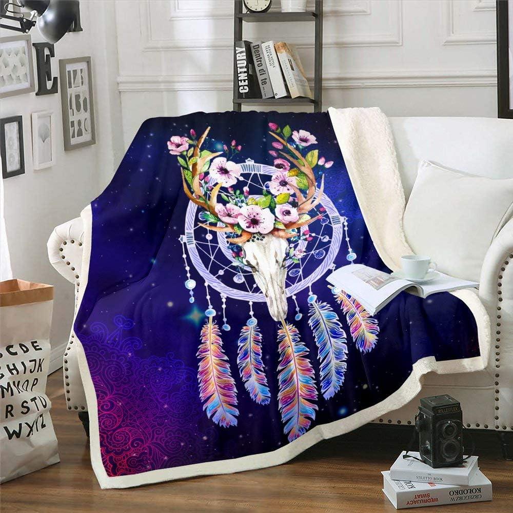 "Boho Cow Skull Blanket Twin 60""x80"" Floral Feather Throw Blanket Warm Soft Cozy Tribal Hippie Bohemian Dream Catcher Sherpa Blanket Blue Starry Sky Purple Mandala Flannel Bed Blanket for Crib, Sofa"