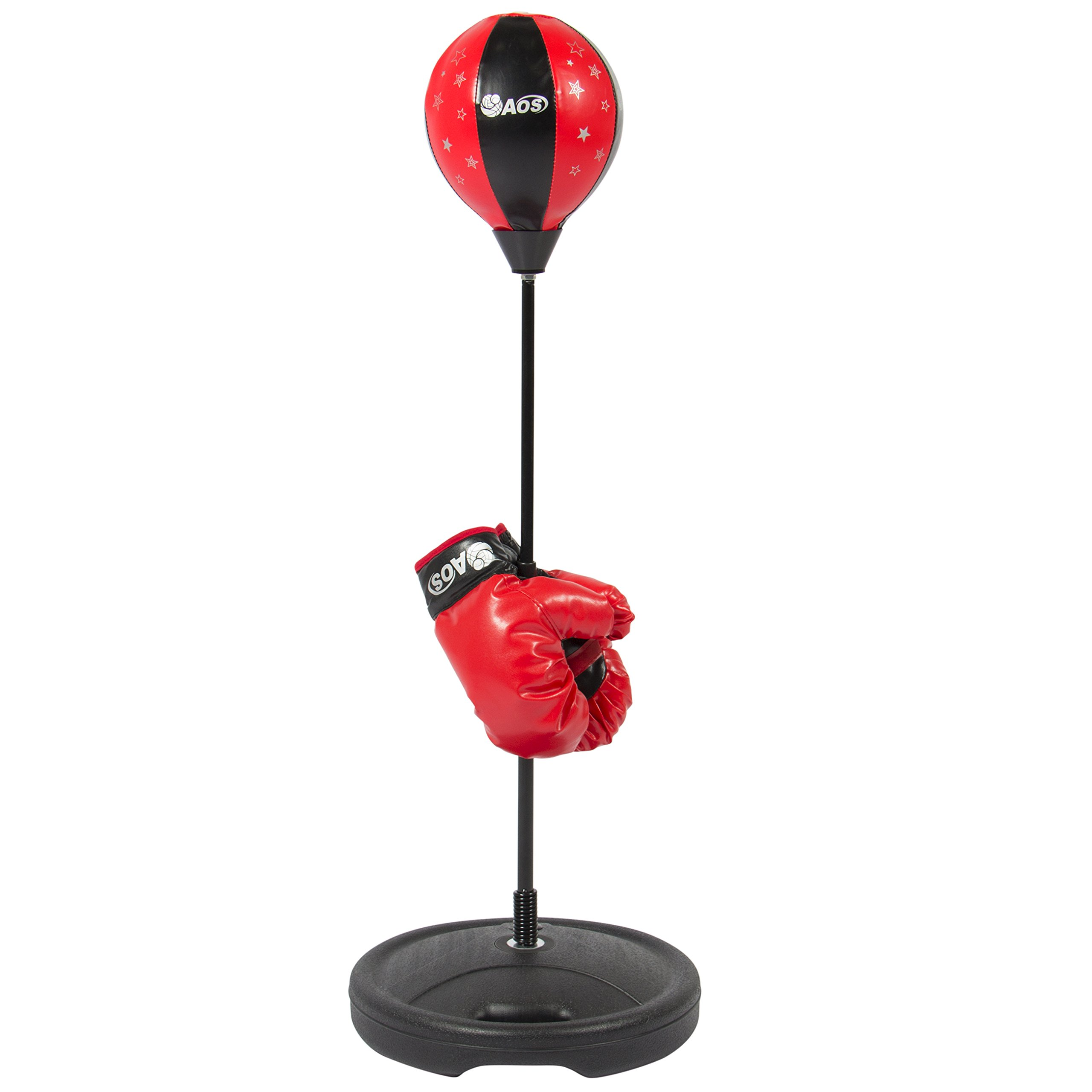 Best Choice Products Kids Freestanding Begginer Boxing Set w/Gloves and Punching Bag for Children - Black/Red
