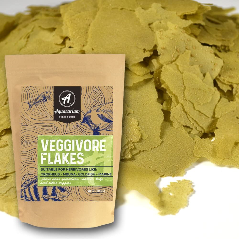 Aquacarium Veggie Flakes Natural Fish Food (6oz)