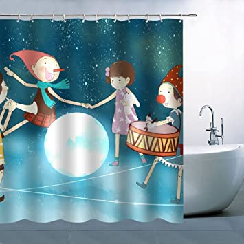 Manga Theme Puppet Man Girl Surrounded By The Moon Blue Starry Sky Shower Curtain 70x70 Inch