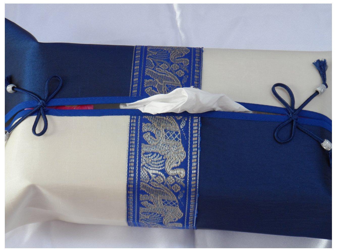 Tissue Box Cover Holder -Birthday or Housewarming Christmas Gift Idea Elephent Thread - Thai Silk/Standard Size (Blue/White)