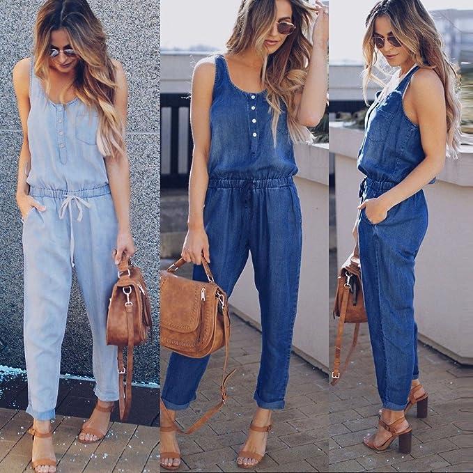 Amazon.com: POTO Jumpsuit Rompers for Women Jeans Demin ...
