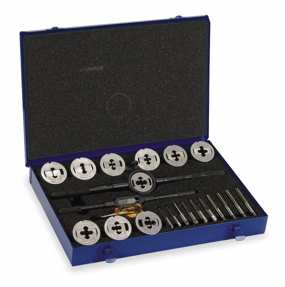23-Piece High Speed Steel Tap and Die Set with 1/4'' to 1/2'' Size Range