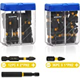 WORKPRO 49-Piece Impact Screwdriver Bit Set, S2 PH2 Phillips Bits of 1 In. and 2 In, Magnetic Extension Bit Holder Included, with Portable Hard Case