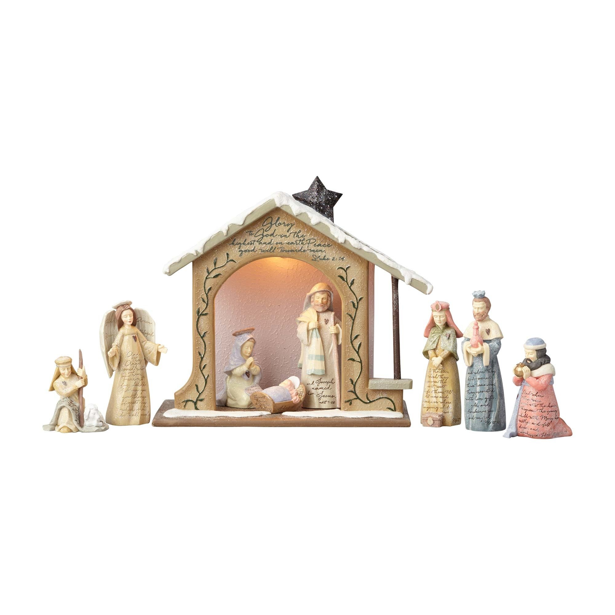 Foundations Nativity Set with Stone Resin Figurines, Set of 9