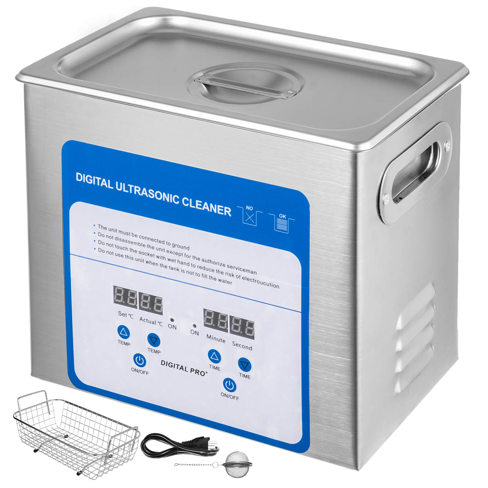 Mophorn 3.2L Professional Ultrasonic Cleaner 320W 304 and 316 StainlessSteel Digital Lab Ultrasonic Cleaner with Heater Timer for Jewelry Watch Glasses Circuit Board Dentures Small Parts by Mophorn