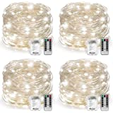 Fairy Lights Fairy String Lights Battery Operated Waterproof, Warmtaste 8 Modes Remote Control 100 LED 33ft String Lights Copper Wire Firefly Lights for Bedroom Wedding Festival Decor (Cool White)