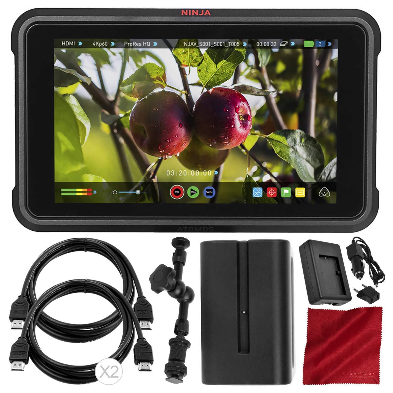 "Atomos Ninja V 5"" 4K HDMI Recording Monitor with Power Kit Deluxe Accessory Bundle"