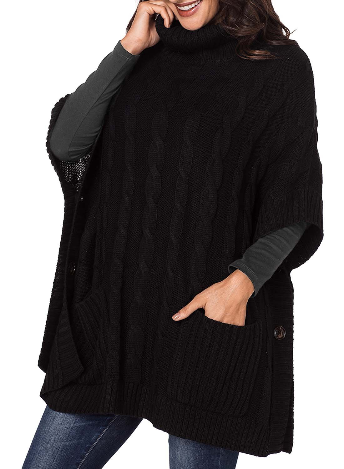 Elapsy Womens Ladies Knit Turtleneck Batwing Sleeve Casual Warm Pockets Style Tunic Poncho Pullover Sweater Oversize Black by Elapsy (Image #3)
