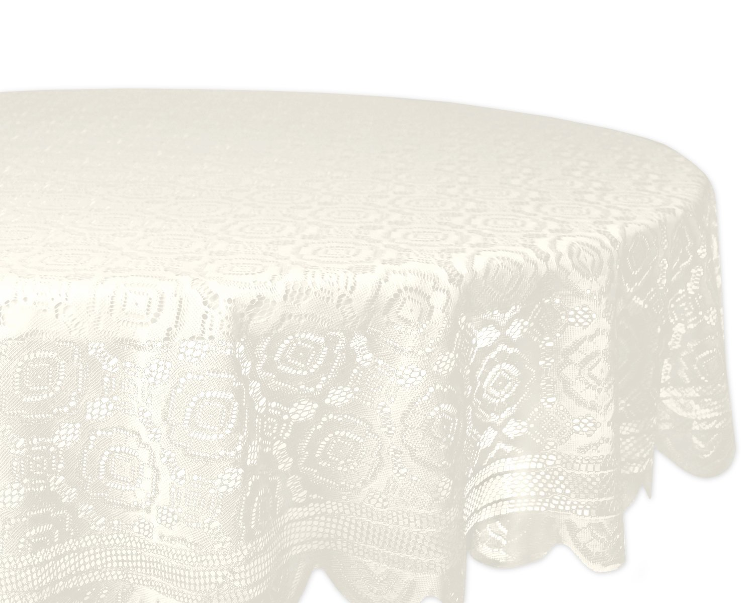 DII Home Essentials 100% Polyester, Machine Washable, Shabby Chic, Vintage Tablecloth or Overlay 63'' Round, Vintage Lace Cream