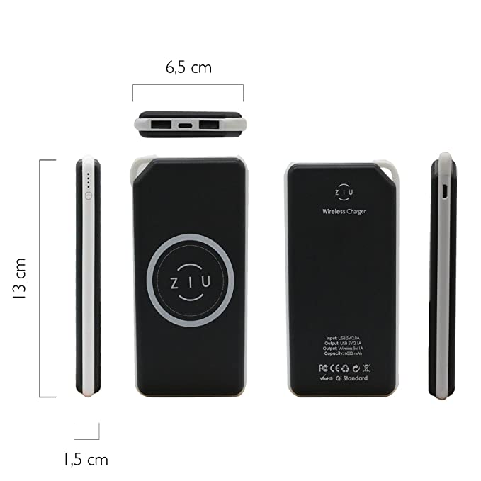 Ziu Smart Items Power Bank Qi - Cargador inalámbrico (6000 mAh, Compatible con Todos los Smartphones, Incluye Adaptador Wireless Android y Apple iPhone) ...