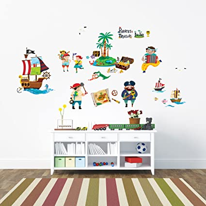 Decowall DW-1310 Pirates and Treasure Island Kids Wall Decals Wall Stickers Peel and Stick  sc 1 st  Amazon.com & Amazon.com: Decowall DW-1310 Pirates and Treasure Island Kids Wall ...