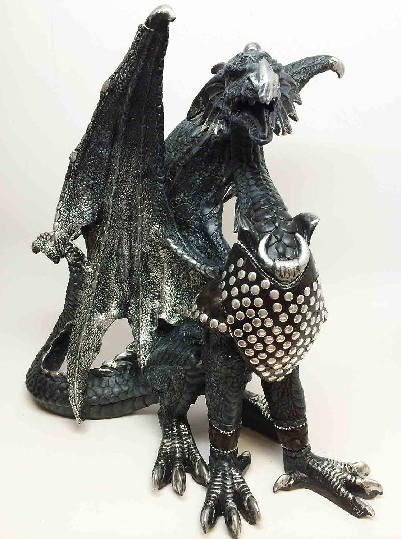 BLACK BATTLE ARMORED DRAGON CALVARY FLIGHT UNIT STATUE SCULPTURE ATL