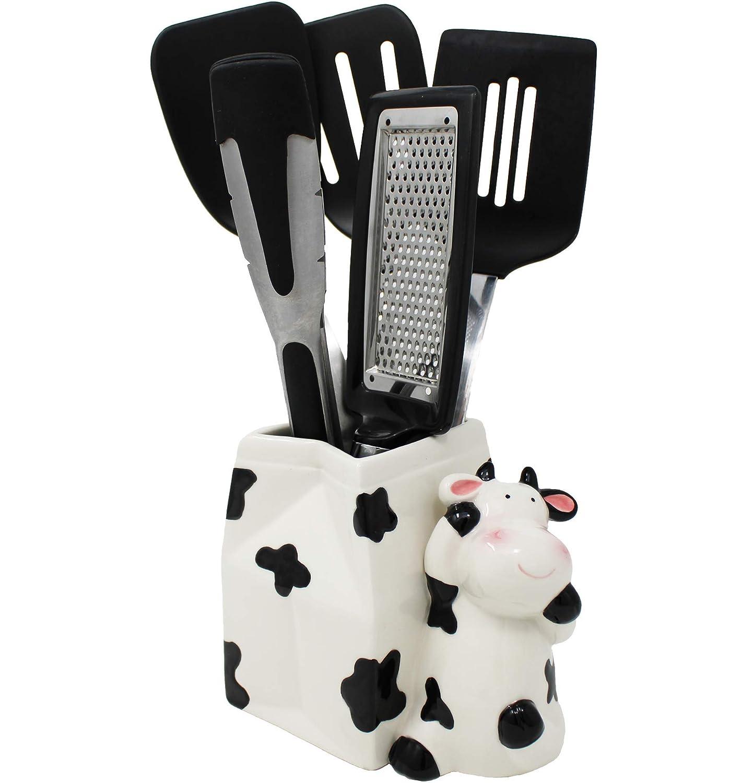 Sixdrop Cow Utensil Holder, Cow Kitchen Utensil Holder, Multipurpose Cow Farmhouse Decor, Kitchen Crock Storage, Farm Decorations Decor Gift, Cow Kitchen Decor Ceramic Holder