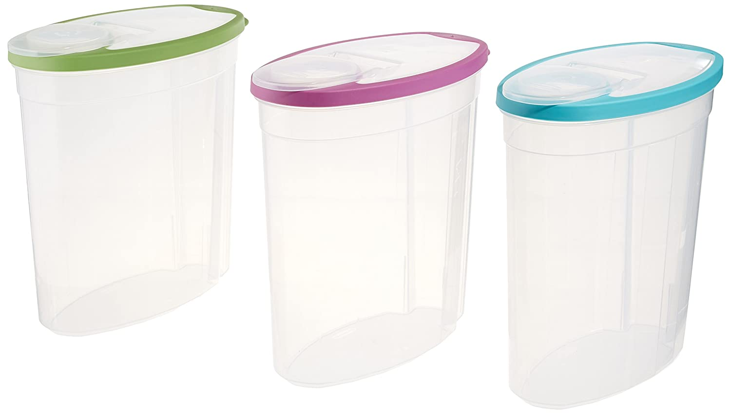 Rubbermaid1.5 gallon Cereal/Snack Storage Container (3 Pack), Blue/Green/Purple
