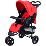 Costzon Infant Stroller 3 Wheel Baby Toddler Pushchair Travel Jogger w/Storage Basket (Red)