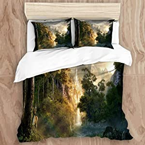 SUNTIG Duvet Cover Set,Castle in The Mountains Pictures Lord of The Ring,Decorative 3 Piece Bedding Set with 2 Pillow Shams, King Size