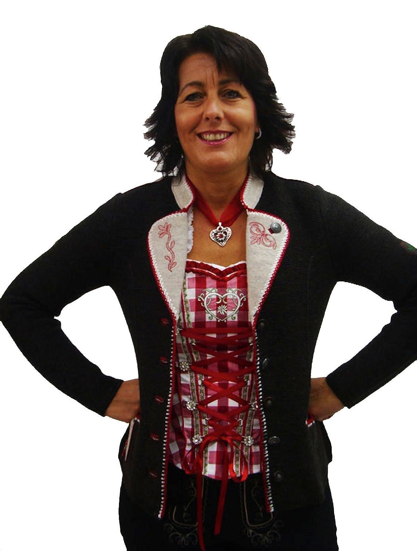 Damen Trachtenjacke braun mit roter Stickereizier von Spieth&Wensky