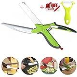 Clever Ciseaux Coupe-cuisine La nouvelle deuxième génération de vert 2-en-1 Chopper-Remplacez vos couteaux de cuisine et des planches à découper, ciseaux Supplément aliments pour bébés (y compris l'environnement cadeau - éplucheur vert) (Vert)