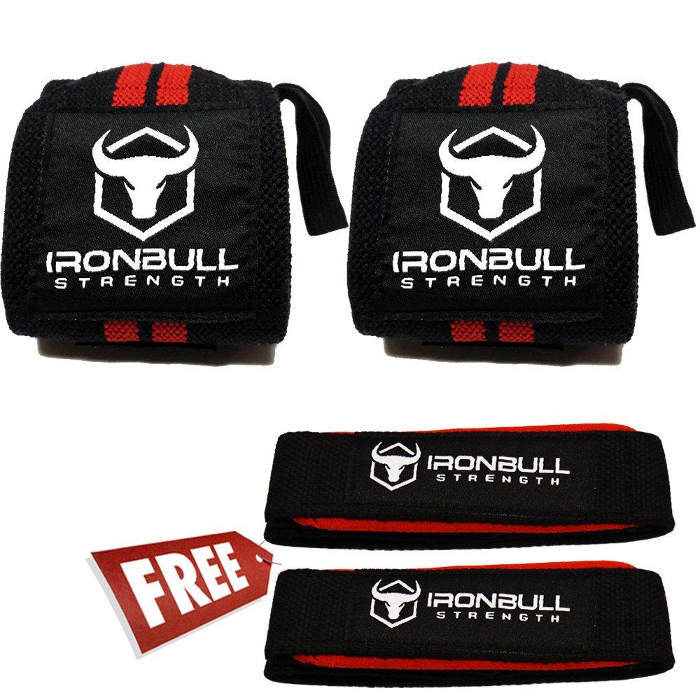 Iron Bull Strength - Muñequeras y correas de elevación (Haz), heavy duty muñeca apoyo con pulgar loop, par de dos envolturas de muñeca con par de dos ...