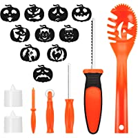 Halloween Pumpkin Carving Kit for Kids, Easy Halloween Pumpkin Carving Tools Kit - Includes 8 Carving Tools 2 LED Candles & 10 Carving Templates
