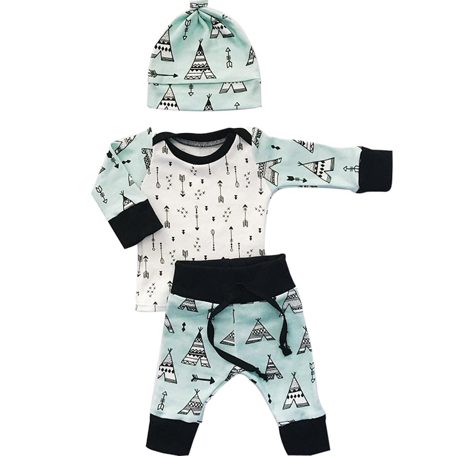 Newborn Baby Girl Boy Outfits, Arrow Tops T shirts+Tent Leggings Pants with Hat