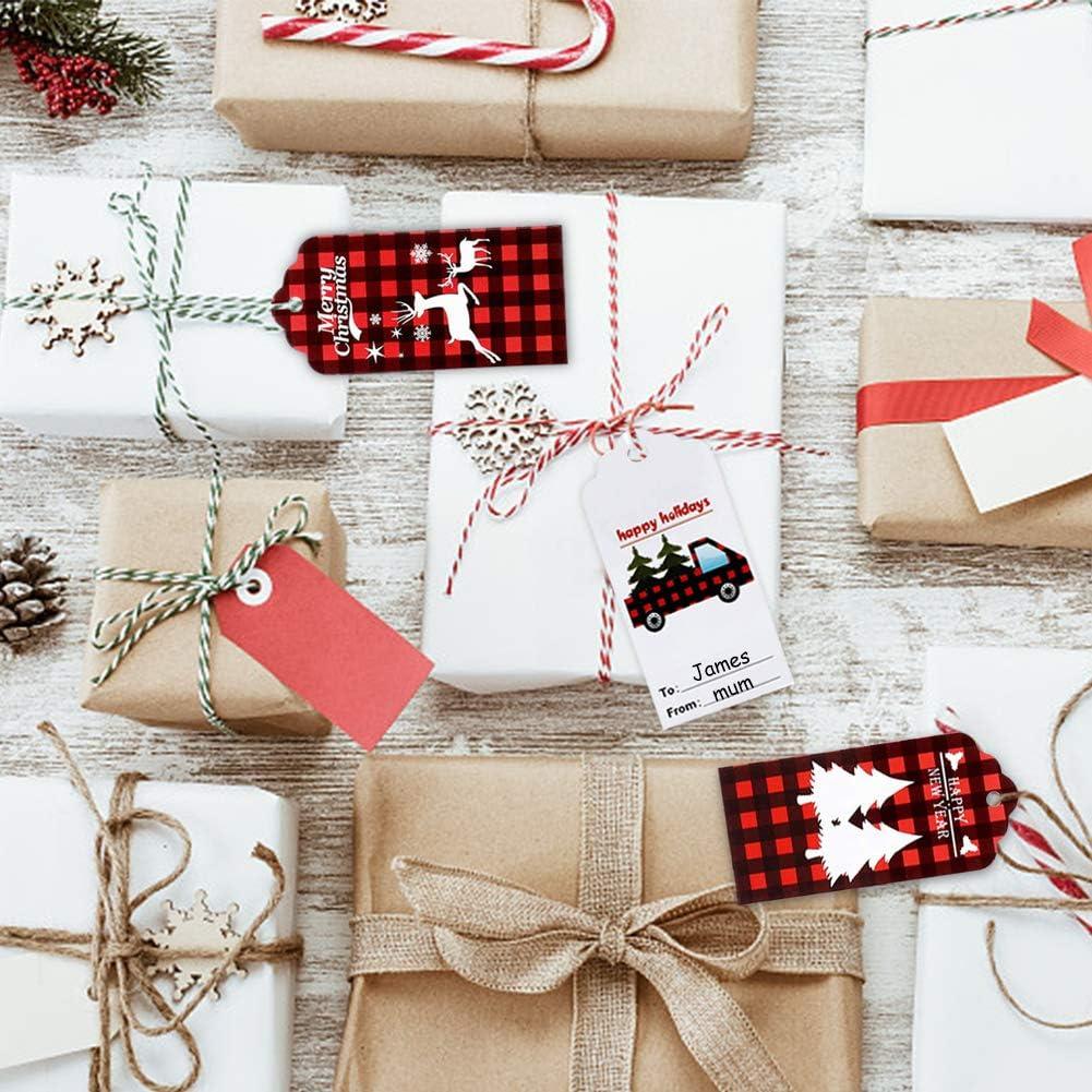 200 Piezas Etiquetas de regalo de Navidad Reno de copo de nieve /Árbol de Navidad Etiquetas colgantes Papel Kraft Galleta Galleta Galleta de caramelo Tostado Etiquetas de envoltura de regalos