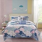 5 Piece Girls Blue Purple Pink Fluffy Clouds
