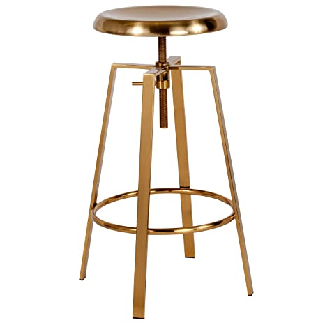 Pleasant Flash Furniture Toledo Industrial Style Barstool With Swivel Lift Adjustable Height Seat In Gold Finish Short Links Chair Design For Home Short Linksinfo