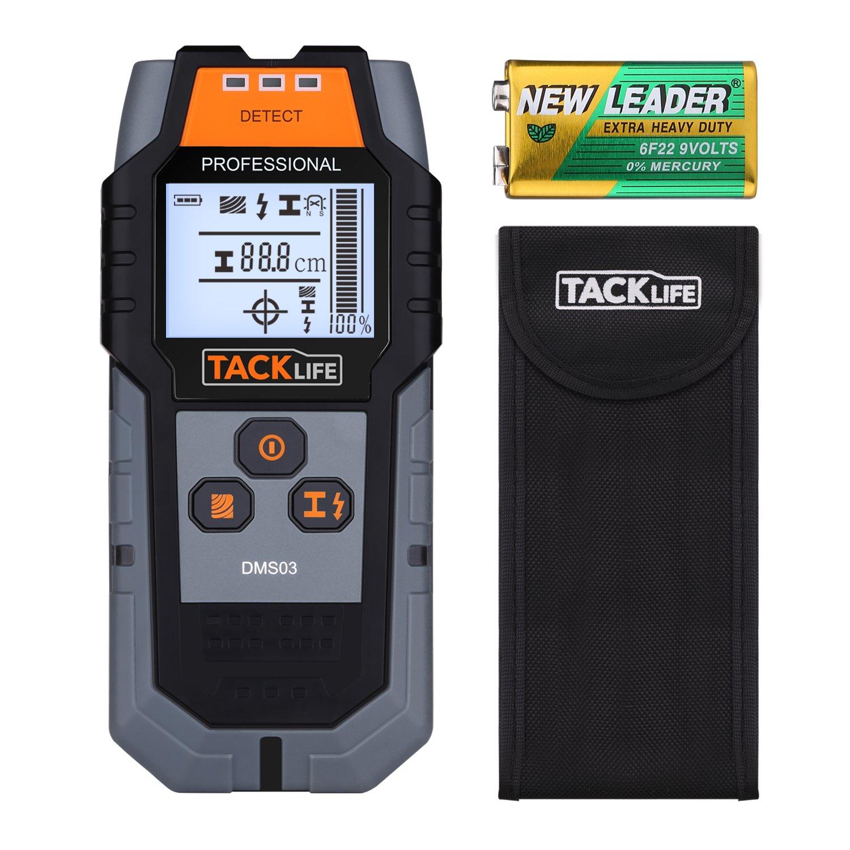 tacklife dms03 multi-wall detector magnética de retroiluminación LCD escáner para tamaño grande/alambre de metal no magnético, ca, buscador de madera con de ...