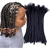 YONNA Human Hair Microlocks Sisterlocks Dreadlocks Extensions 60Locs Full Handmade (Width 0.4cm) 8inch Natual Black #1B