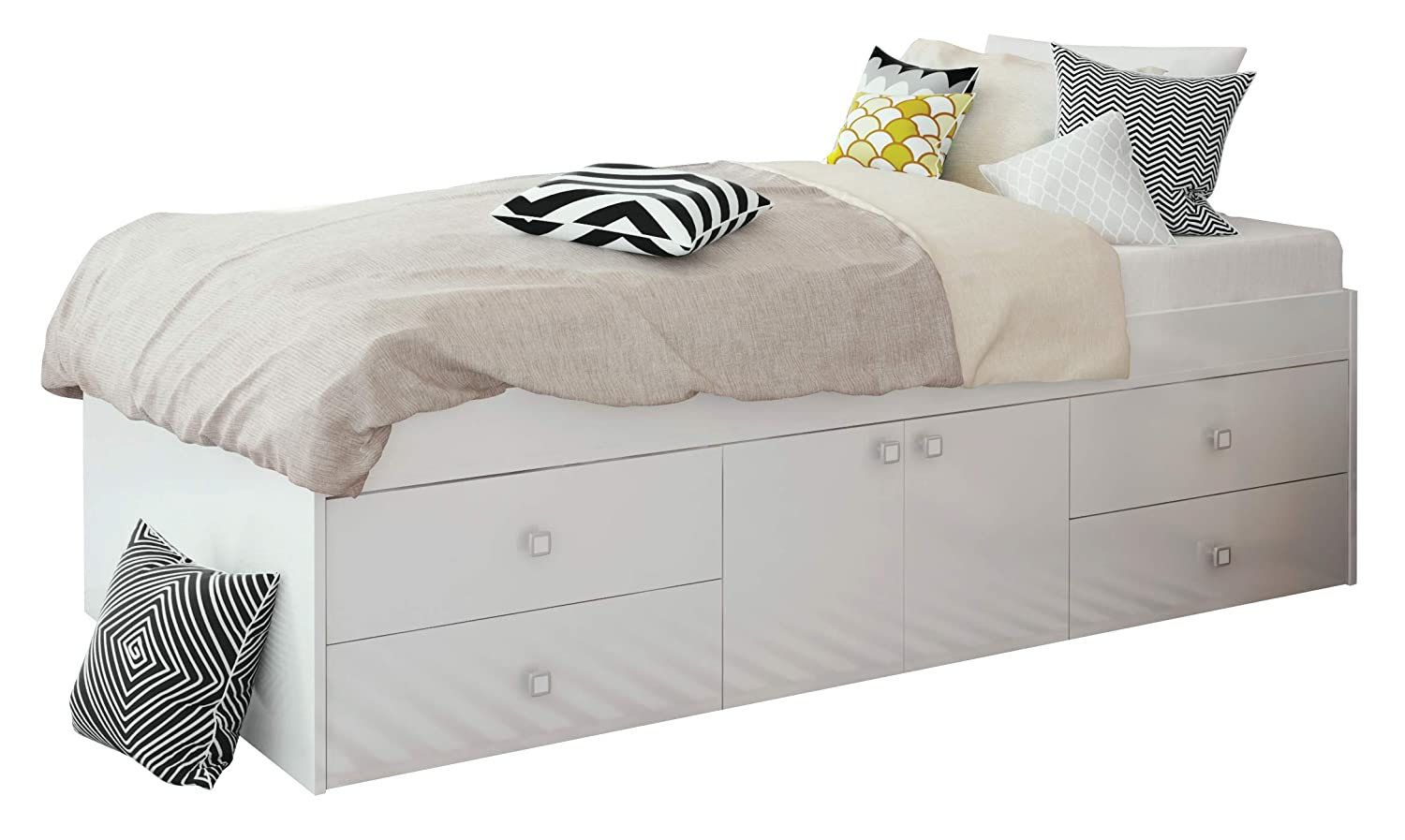 Cama individual de 90 x 190 cm con 4 cajones, color blanco: Amazon ...
