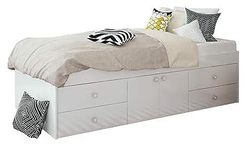 Low Sleeper 3ft Cabin White Storage 4 Drawer Single Bed 90 X 190cm White