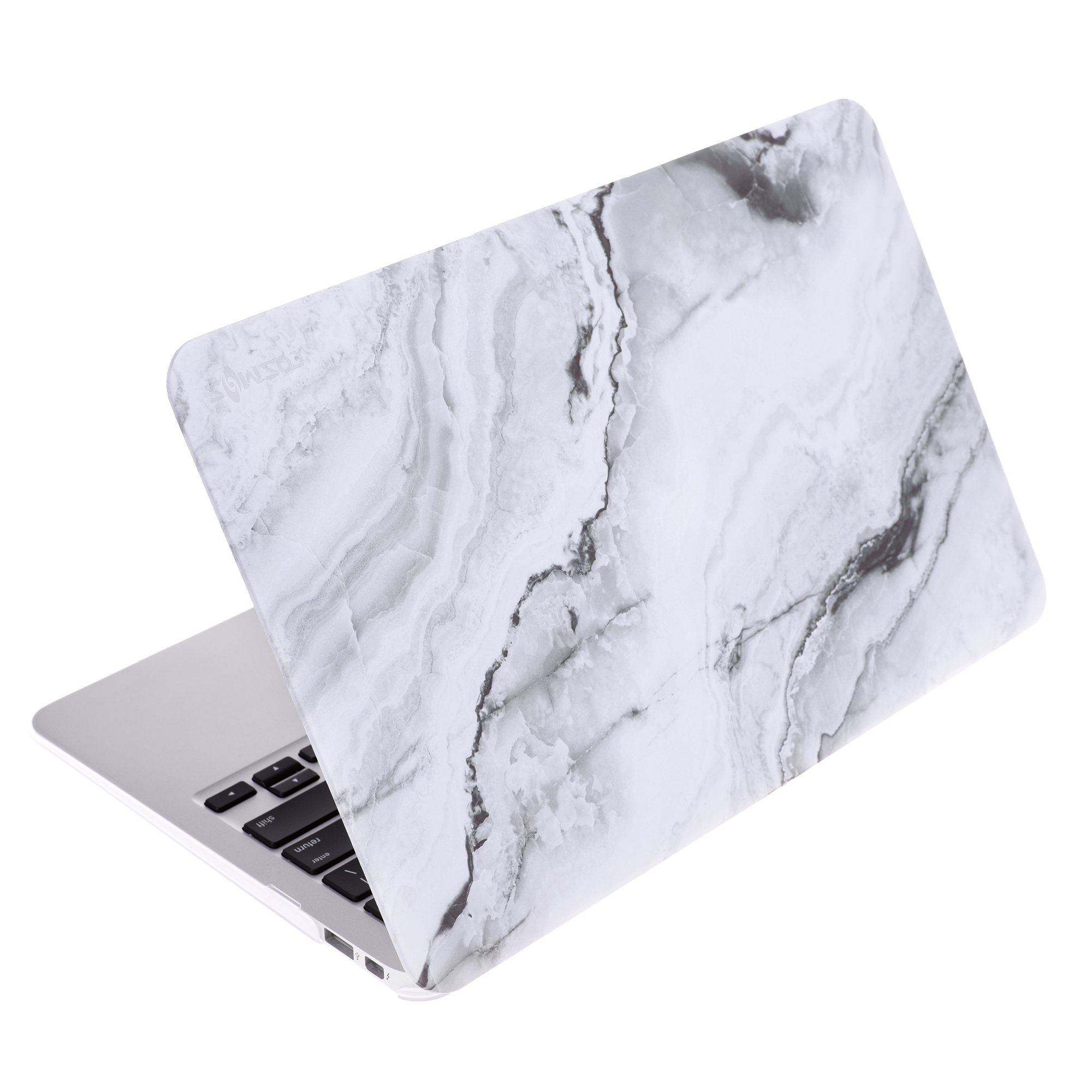 COSMOS Rubberized Plastic Hard Shell Cover Case for MacBook Air 11.6'' (Model: A1370 / A1465), White Marble Pattern
