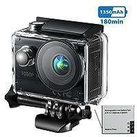 VicTsing Action Cam WIFI Mini Fotocamera Videocamera Tachigrafo con Sensore di Immagine CMOS da 8 Megapixel, Obiettivo Grandangolare di 145 Gradi, 2.4G Telecomando + APP Gratuito in Modulo WiFi + Piastre Magnetiche, Nero