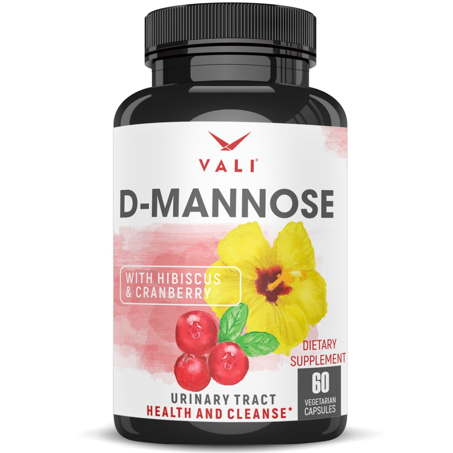 D Mannose 1000 mg Urinary Tract Infection Formula - Triple Strength Organic Cranberry 50:1 Concentrate & Hibiscus - Healthy Bladder Function, Natural Yeast Cleanse, UTI Support - 60 Veggie Capsules by VALI