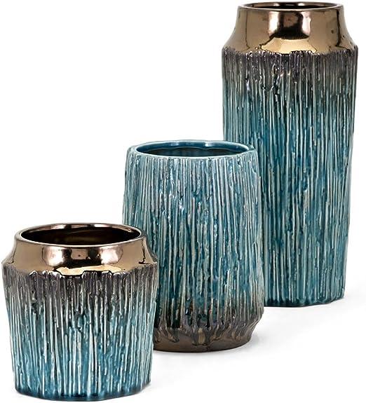 Amazon Com Imax 13733 3 Brenton Vases Set Of 3 Teal Bronze