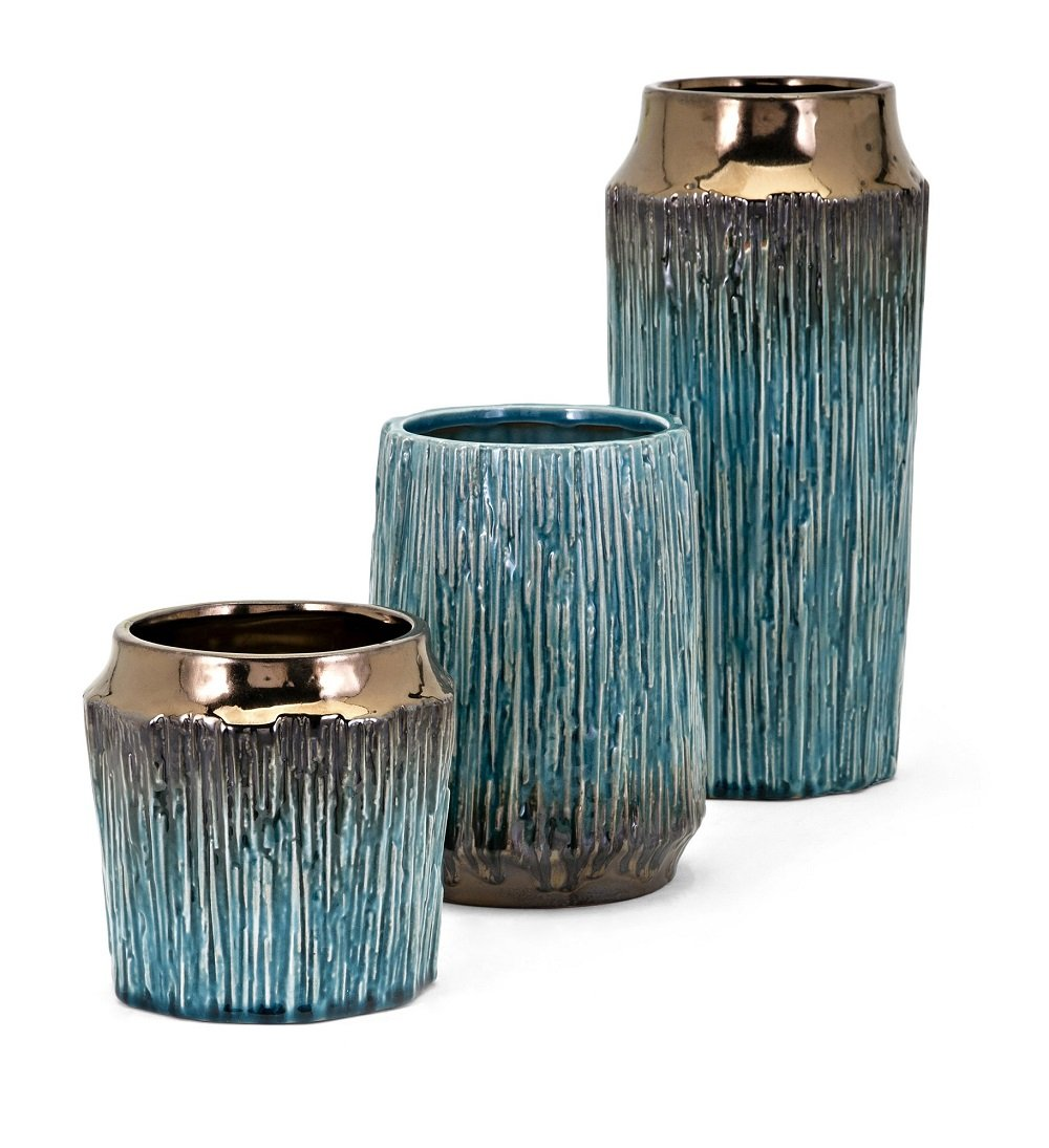 IMAX 13733-3 Brenton Vases - [Set of 3] Teal, Bronze, Clay Container in Bold Texture for Home Decoration