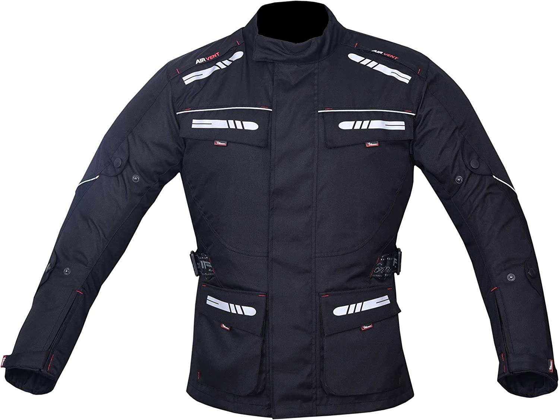 NORMAN Mens Motorcycle Motorbike Jacket Waterproof Textile CE Armoured Reflectors Black
