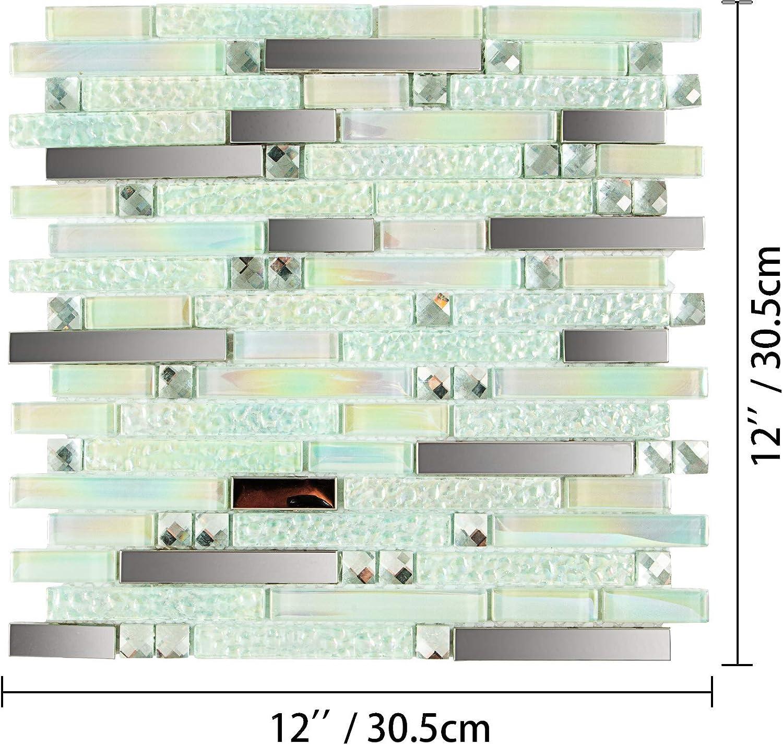 Happybuy Glass Backsplash Tiles for Kitchen 12 Sheets Glass Mosaic Tile Backsplash 12 Inchx12 Inch Glass Tiles for Backsplash 12 SqFt for Kitchen Bathroom backsplash