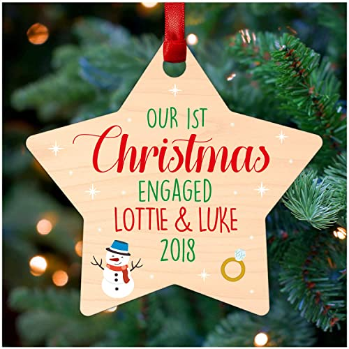 personalised star christmas tree decoration for engaged couple fiance fiancee our 1st first christmas engaged hanging