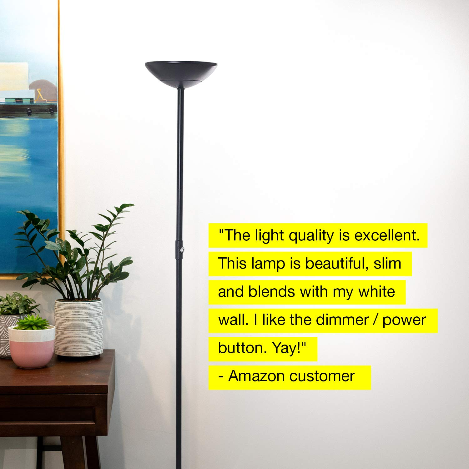 Brightech SkyLite - Bright LED Torchiere Floor Lamp for Offices - Modern, Dimmable Reading Light for Living Rooms & Bedrooms - Tall Standing Pole Light - Jet Black by Brightech (Image #7)