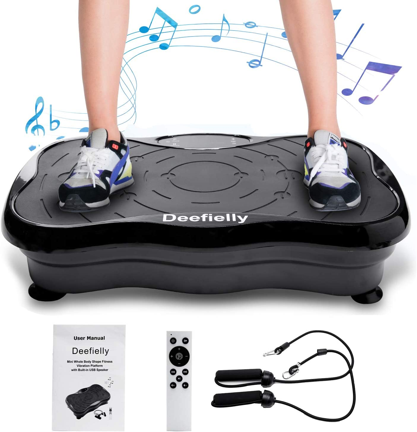 Remote Control and Max Load 330lbs Ravs Vibration Plate Exercise Machine Whole Body Workout Machine Vibration Fitness Platform Machine Home Training Equipment with Resistance Bands